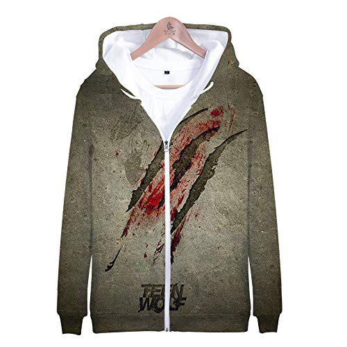 RJHWY 3D Hoodie Sweatshirt Unisex Pullover Kapuzenjacke Kleidung Mantel Reißverschluss Anime Top Teen Wolf S
