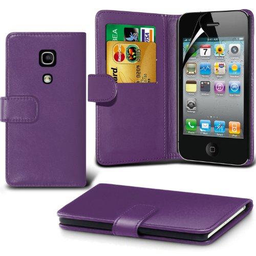 élégant PU Portefeuille en cuir couverture de peau de cas de secousse Avec écran LCD Protecteur Pour Apple iPhone 4 By Spyrox Pourpre