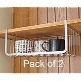 Callas Under Shelf Basket Wire Rack Slides Under Shelf; Kitchen Organizer (White; Large; pack of 2)