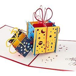 """3D Geburtstagskarte""""Geschenk mit Schleife"""", Karte zum Geburtstag, Geburtstagsgeschenk für Frauen, für Männer, Geschenkkarte, kreativ, handgefertigt, mit Umschlag und mit Folie, Pop Up Karte"""