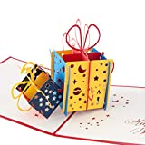 3D Geburtstagskarte'Geschenk mit Schleife', Karte zum Geburtstag, Geburtstagsgeschenk für Frauen, für Männer, Geschenkkarte, kreativ, handgefertigt, mit Umschlag und mit Folie, Pop Up Karte