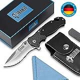 Piranjo Klappmesser - Extra scharfes Messer Set mit Tasche, Schleifstein & Tuch - Taschenmesser mit D2 Edelstahlklinge - Mit Glasbrecher-Funktion