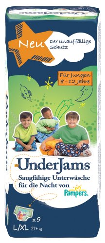 Pampers Windeln UnderJams Gr. 8 L/XL Boy 27+ kg, 4er Pack (4 x 9 Stück)