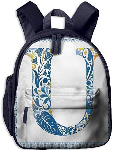 Students Boy's&Girl's Backpacks Backpacks Backpacks   Pocket Letter U Azulejo Motifs Floral Typography Retro Mosaic Tile Design Graphic Initial Decorative Blue Yellow Orange B07H28SMW8 | Livraison Immédiate  7dc80c