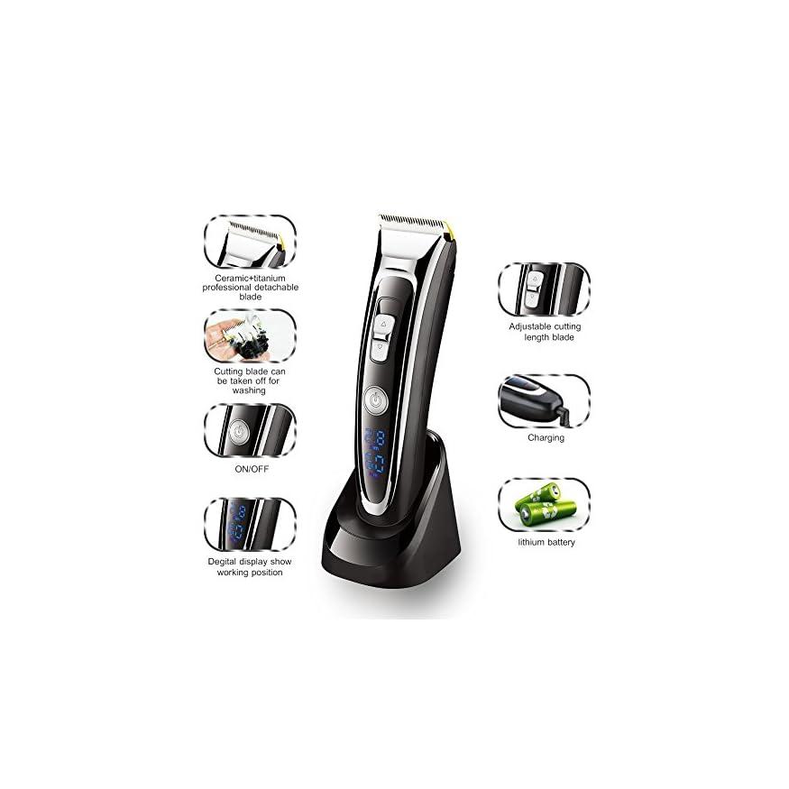 SURKER Cortapelos Electrónico Maquina cortadora recorte de corte de pelo  Cortapelo con Pantalla LED Batería Recargable para Hombres ... 3c1347cee118