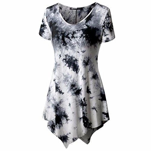 Kurzarm Oberteile Damen,Internet Frauen Mode Tops Bluse/Beiläufig Tanktops Pullover O-Ausschnitt T-Shirt Lose Drucken Irregulär Sommerhemd (Weiß, M) (Garderobe Für Frauen)