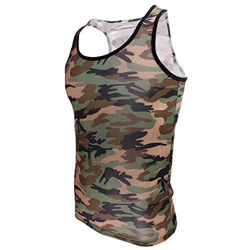 Generic Uomini Camouflage Camo sport allenamento Canotta Top Gilet T-shirt Cime - Camo, (Militari T-shirt)
