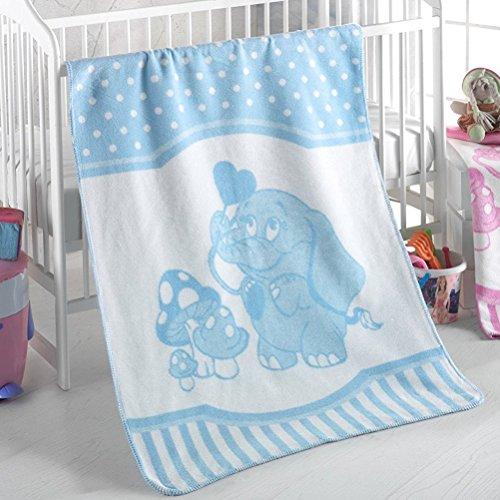 Delindo Lifestyle® Babydecke TONI BLAU / 380g/m² Kuscheldecke aus 60% Baumwolle / Krabbeldecke 75x100 cm / Wolldecke mit Elefanten Motiv