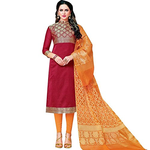 Lady Line Salwar Kameez Brocade Silk Indian Salwar Suit/ Un-Stitched dress Material...