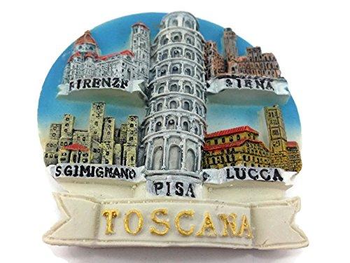 Toskana Schiefer (Toskana Toscana Pisa Lucca Firenze Siena Schiefer Turm Italien Kunstharz 3D Kühlschrankmagnet Souvenir Tourist Geschenk FBA)