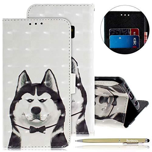 Herbests Kompatibel mit Lederhülle Galaxy S9 Bunt Ledertasche Handytasche Flip Case Retro Glitzer Bling Glänzend Leder Hülle Handy Schutzhülle Klapphülle Handyhülle,Komisch Hund