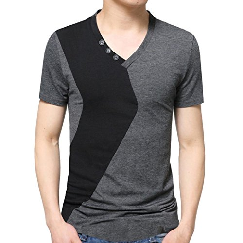 Cinnamou Camisetas para Hombre elástica de Algodón ELS Manga Corta Hombres Tapas de la Camiseta Color Bloquear Tunica con Botón Decorartion V-Collar (Gris, 5XL)