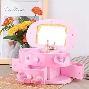 AUNMAS Spieluhr Spinning Dancing Ballerina Schmuckschatulle Pink Design Aufbewahrungskoffer mit Spiegel für Mädchen Kinder Freunde Geburtstagsgeschenke(1#)