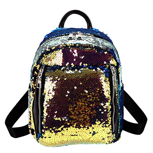 Johiberty Frauen Pailletten Hit Farbe Schultasche Rucksack Student Satchel Reise Umhängetasche Doppel Schultertaschen Crossbody Messenger Bag