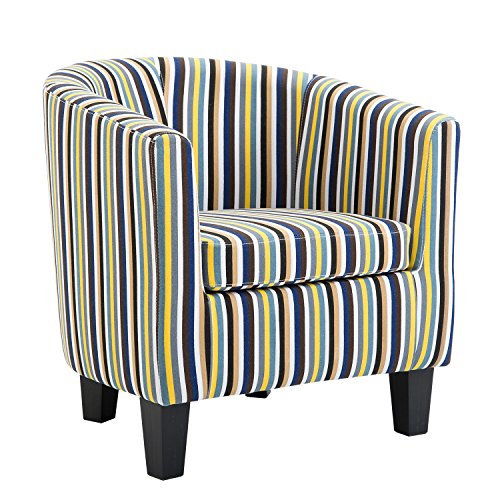 Leisure Zone Fabric Tub Chair Armchair Single Striped Sofa for Lounge Dining Living Room Seating Office Reception (Multi-color)