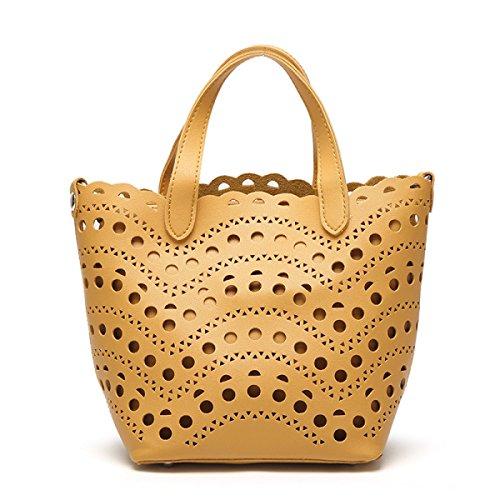 Weiblich Hohl Schultertasche Einfarbig Retro Schultertasche College Große Kapazität Messenger Bag Abnehmbar Handtasche Yellow
