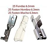 Pack 50X Terminal Faston 6.3 mm 25 Hembras y 25 Machos + 25 Fundas Transparentes 6.3