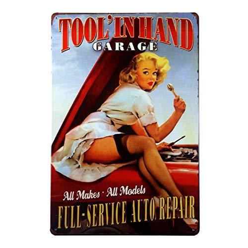 TANGGOOD Full-Service-Auto-Reparatur-Tool in der Hand Garage bringen Sie zurück zum Pin-up-Mädchen der 1950er Jahre Great Garage oder Man Höhlenschild