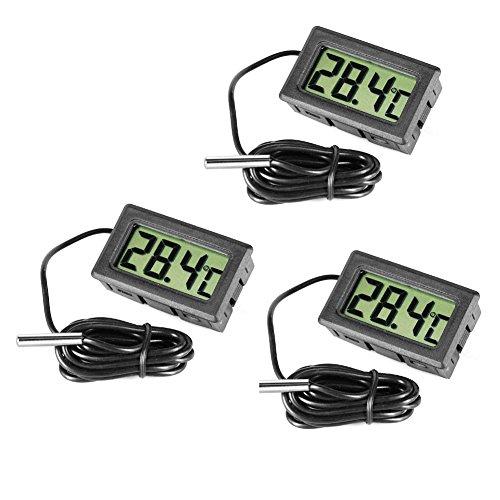 Inrigorous, 3 termometri digitali neri in acciaio per frigorifero e congelatore, con monitor per la visualizzazione della temperatura