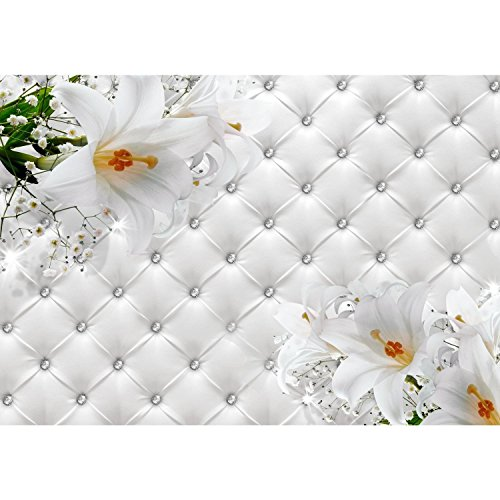 Fototapete Blumen 3D Lilien Weiß 352 x 250 cm Vlies Wand Tapete Wohnzimmer Schlafzimmer Büro Flur Dekoration Wandbilder XXL Moderne Wanddeko Flower 100% MADE IN GERMANY - Runa Tapeten 9185011a