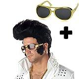 German Trendseller® - perruque d'Elvis Presley avec lunettes┃70th style┃ accessoire de carnaval┃déguisement┃Rock Roll┃Rockabilly┃The King
