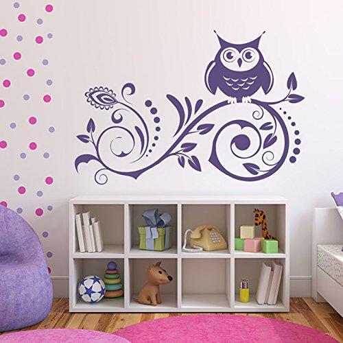 owl-on-fioritura-della-vite-bambini-fiori-e-alberi-wall-stickers-decalcomanie-di-casa-darte-disponib