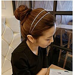 Wedding Bridal Headband Double Hair Bands Design with Crystal+ Free Top-ishop Cable Tie
