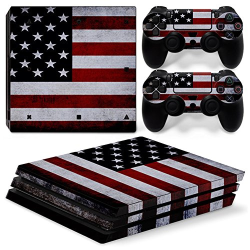 Stillshine PS4Pro Vinyl Skin Decal selbstklebender Aufkleber für Playstation 4Pro Konsole & 2Dualshock Controller im Set blau Flags America