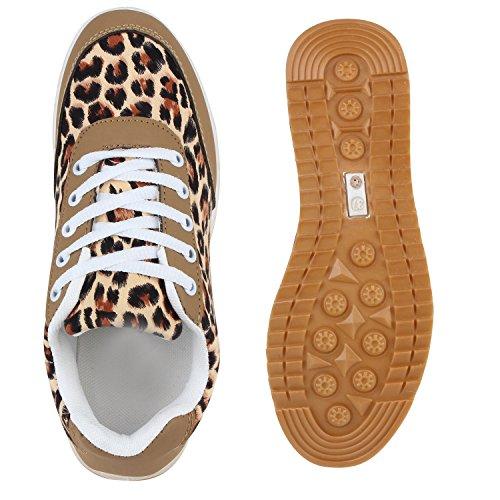Glitzer Damen Laufschuhe Profilsohle Sportschuhe Flats Runners Leopard