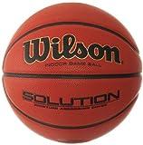 Wilson Indoor-Basketball, Wettkampf, FIBA zugelassen, Sportparkett, Granulat, Linolium- oder PVC-Boden, Größe 5, 6 bis 8 Jahre, Solution Game Ball, Orange