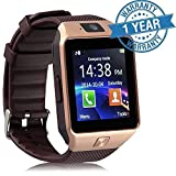 Padraig Bluetooth Smart Watch With Camera & Sim Card Support for Android/iOS Devices (Gold)