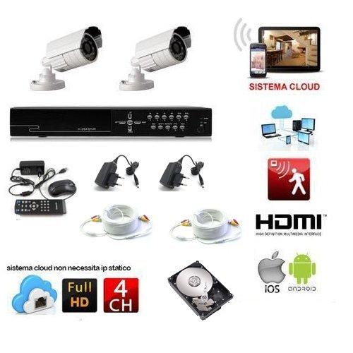 KIT VIDEOSORVEGLIANZA 2 TELECAMERE 1200 TVL LED INFRAROSSI + DVR 4 CANALI +HARD DISK 500 GB + 2 CAVI 20 METRI + ALIMENTATORI GESTIBILE DA REMOTO