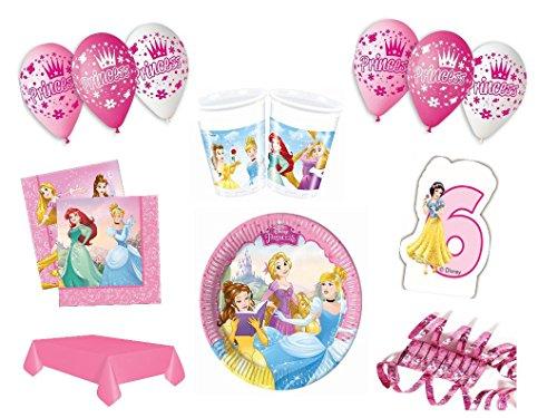 XXL Party Deko Set 6.Geburtstag Disney Princess pink Kindergeburtstag für 8 Personen rosa Mädchen Party Deko Geschirr