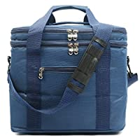 Oflamn Large Insulated Cool Bag Family Picnic Bag Lunch Bag 18L / 30 Can (blue)