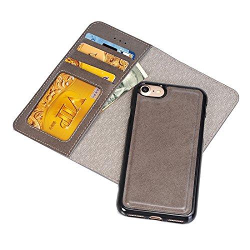 Phone case & Hülle Für iPhone 6 Plus / 6s Plus, Horizontale Flip Leder Tasche mit abtrennbaren magnetischen Rückseite Cover Shell & Crad Slots & Wallet & Photo Frame ( Color : Brown ) Grey
