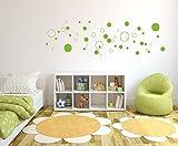 Wandtattoo 50 Stück Kreise Aufkleber lindgrün selbstklebend in Wunschfarben - Punkte, Dots, Wandaufkleber Wandtatoos Sticker Aufkleber für die Wand, Fensterbild, Tapetensticker, Türaufkleber