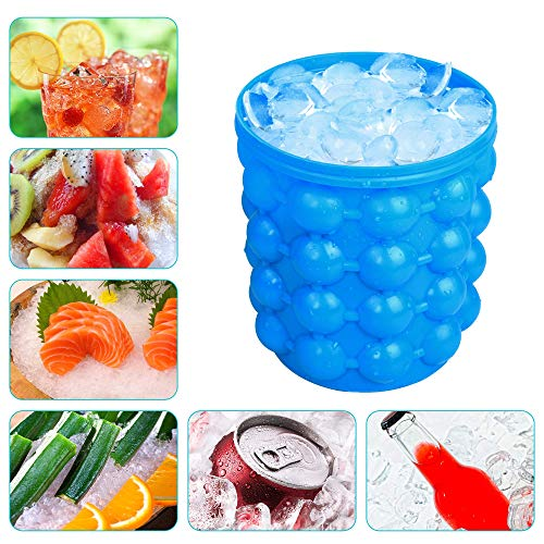 Eulan Large Silicone Ice Bucket & Ice Mold with lid,(2 in 1) Space Saving Ice Cube Maker,Silicon Ice Cube Maker, Portable Silicon Ice Cube Maker (Blue)