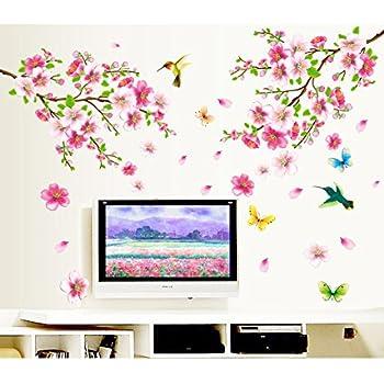 Decals Design 'Flowers Branch' Wall Sticker (PVC Vinyl, 60 cm x 90 cm),Multicolor