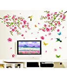 #1: Decals Design 'Flowers Branch' Wall Sticker (PVC Vinyl, 60 cm x 90 cm),Multicolor