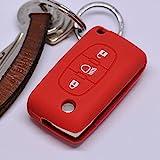 Soft Case Schutz Hülle Auto Schlüssel Citroen C4 Picasso C5 C8 Dispatch Jumpy Flip Key Klappschlüssel / Farbe Rot