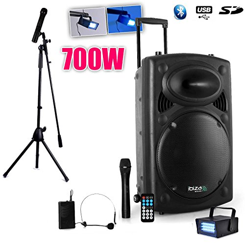 Öffentlichkeit Lautsprecheranlage Mobile MP3700W + 3MIC port12vhf-bt + Fuß für Gesang + Mini Strobe lytor (Strobe Light Bluetooth-lautsprecher)