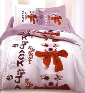 Parure de lit Housse de couette Animal Chien Dog Dalmatien + taie d'oreiller 140x200 cm