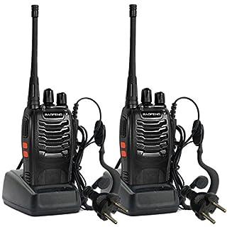 Sailnovo Walkie Talkie 16 Kanäle Funksprechgerät Dual Band Zweiwege 16 Kanäle 400-470MHz Sprechfunkgerät Two-Way Radio Handfunkgerät mit Headset(2 Stücke mit Kopfhörer) (Schwarz 3)