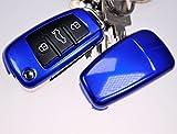 Klapp Schlüssel Hülle Hartschale Cover Dunkelblau für Audi A1 8X S1 A3 8P S3 A6 4F S6 Q7