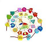 Lernuhr aus Holz,Holz Uhr mit Zahlen und Formen Blöcke Sortier Toys of Wood Oxford Holz form Sortierung Uhr für Kinder ab 1 2 3