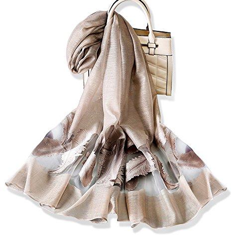 YFZYT Mode Frauen lange weiche Wrap Schal Damen Sonnencreme Stickerei Feder Muster Voile Schal leichte Abend Wrap Hochzeit Sheer - Khaki (Schal Wraps)