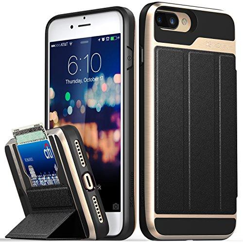 iPhone 8Plus Wallet Case, iPhone 7Plus Wallet Case, VENA [vcommute] [Military Grade Drop Schutz] Flip Leder Cover Kartenhalter mit ausklappbarem Ständer für iPhone 8Plus, iPhone 7Plus (Space Grau/ Gold / Schwarz