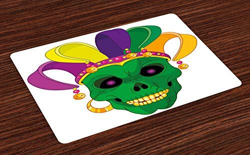 ABAKUHAUS Mardi Gras Platzmatten, Furchtsame schauende grüne Schädel-Maske mit Karnevals-Hut-Perlen und Ohrring-Karikatur-Art, Tiscjdeco aus Farbfesten Stoff für das Esszimmer und Küch, Mehrfarbig