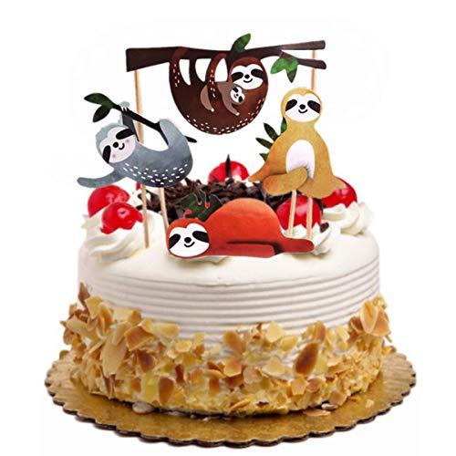 YeahiBaby 4 stücke faultier Kuchen Topper Set kreative niedlichen dekor acake einsatzkarte für Geburtstag Party Festival (Geburtstag Dekor Kuchen)