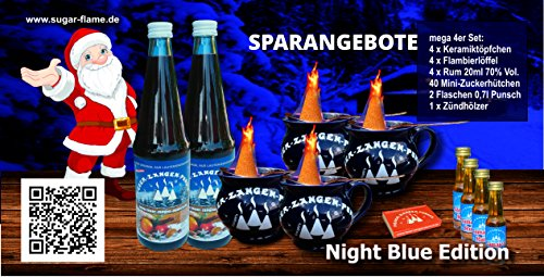 4er Mini Feuerzangenbowle Mega-Spar-Set incl. 40 Mini Zucker Hütchen